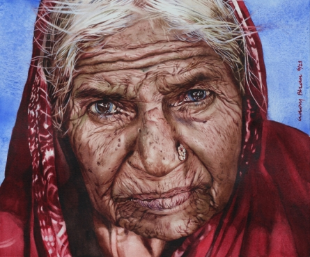 Realistic Watercolor Art Painting title Old lady by artist Dr Uday Bhan