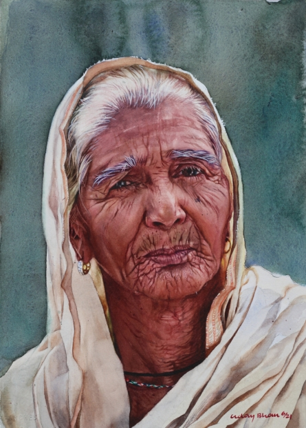 Portrait Watercolor Art Painting title Portrait old lady realism by artist Dr Uday Bhan