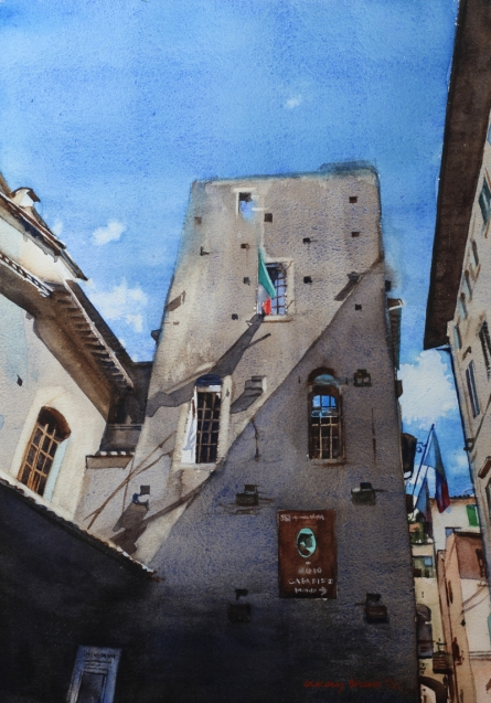 Cityscape Watercolor Art Painting title House of Dante by artist Dr Uday Bhan