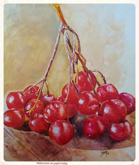Cherry | Painting by artist Dr.uday Bhan | watercolor | Paper