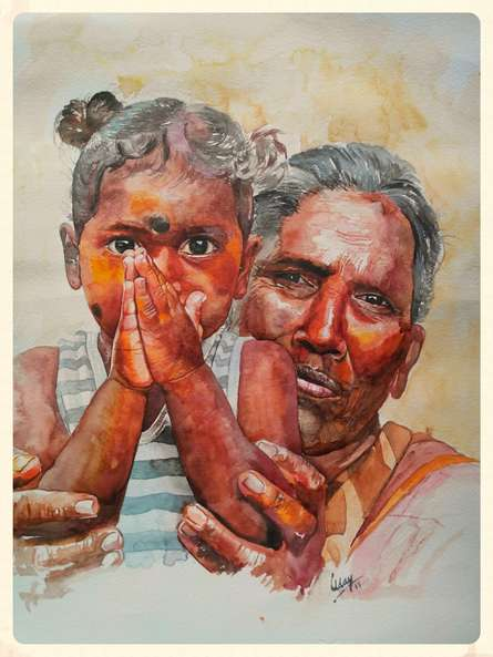 Portrait Watercolor Art Painting title 'Please' by artist Dr.uday Bhan