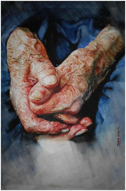 Loving Hands | Painting by artist Dr.uday Bhan | watercolor | LOVING HANDS