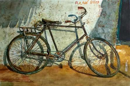 contemporary Watercolor Art Painting title 'Old Cycle ' by artist Dr.uday Bhan