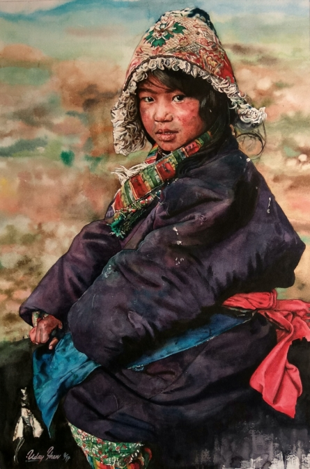 Lifestyle Watercolor Art Painting title 'The Boy ' by artist Dr.uday Bhan