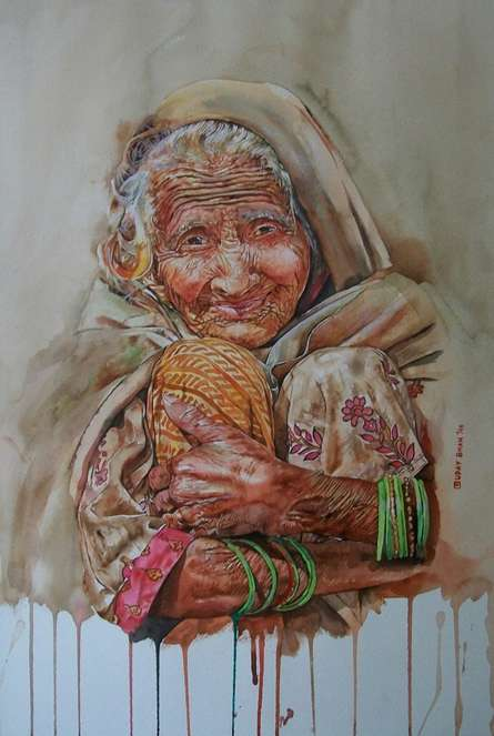 Figurative Watercolor Art Painting title 'Undefined Cuteness ' by artist Dr.uday Bhan