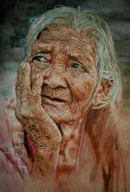 Waiting Eyes | Painting by artist Dr.uday Bhan | watercolor | Paper
