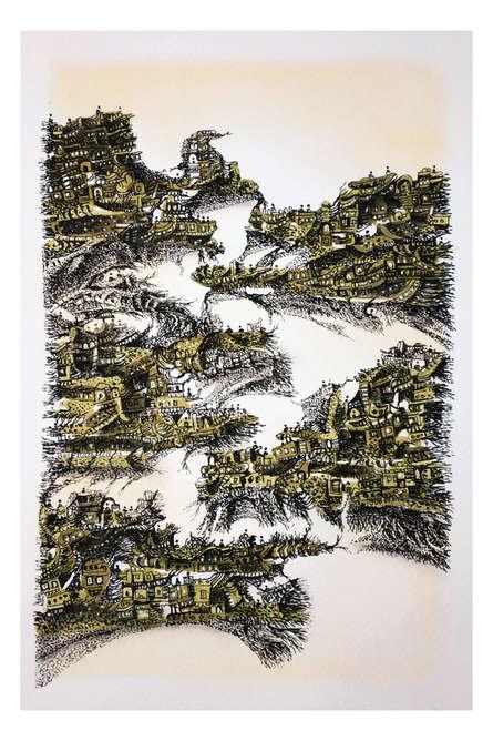 Cityscape Mixed-media Art Painting title 'Sea City' by artist Kusum Lata Sharma