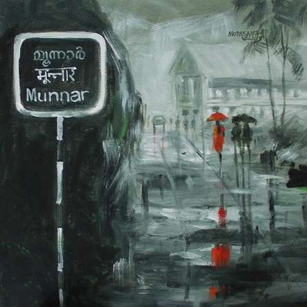 Rain In Munnar | Painting by artist Mopasang Valath | acrylic | Canvas