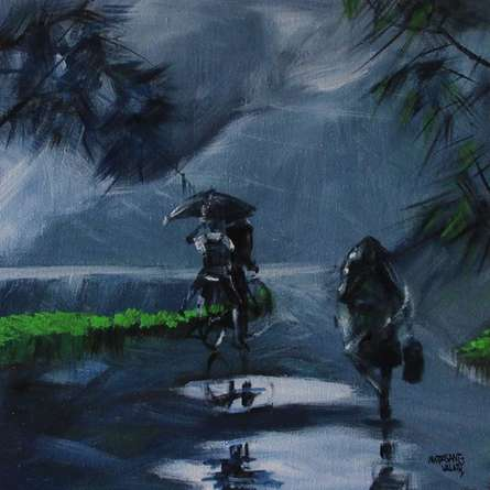 Scenic Acrylic Art Painting title 'Rainy Day' by artist Mopasang Valath