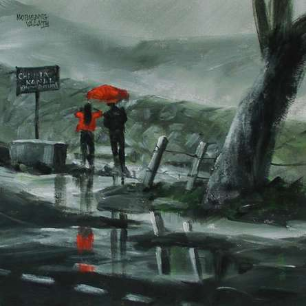 Scenic Acrylic Art Painting title 'Enjoying The Rain' by artist Mopasang Valath