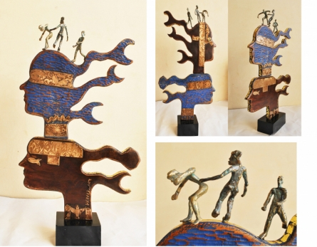 Wood, Metal Sculpture titled 'Celebration 1' by artist Renu Bala