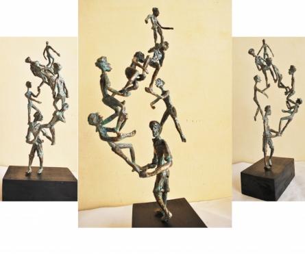 Wood, Metal Sculpture titled 'Celebration 2' by artist Renu Bala