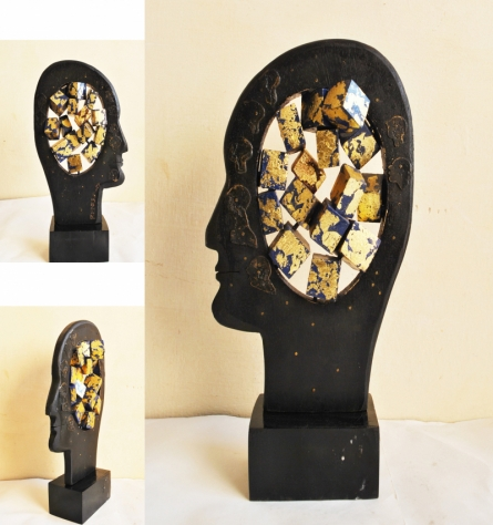 Renu Bala | The Thinker Sculpture by artist Renu Bala on Wood, Metal | ArtZolo.com