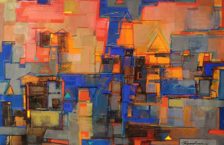 Cityscape Acrylic Art Painting title 'Cityscape' by artist Praveen Kumar