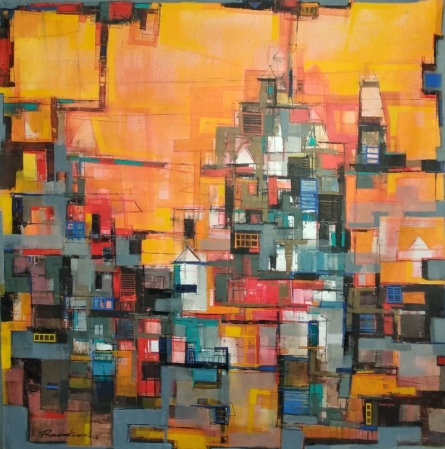 Cityscape Acrylic Art Painting title My City by artist Praveen Kumar