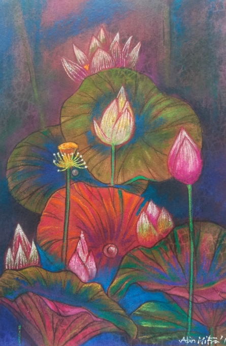Atin Mitra | Mixed-media Painting title Melody Of Lotus 4 on Paper | Artist Atin Mitra Gallery | ArtZolo.com