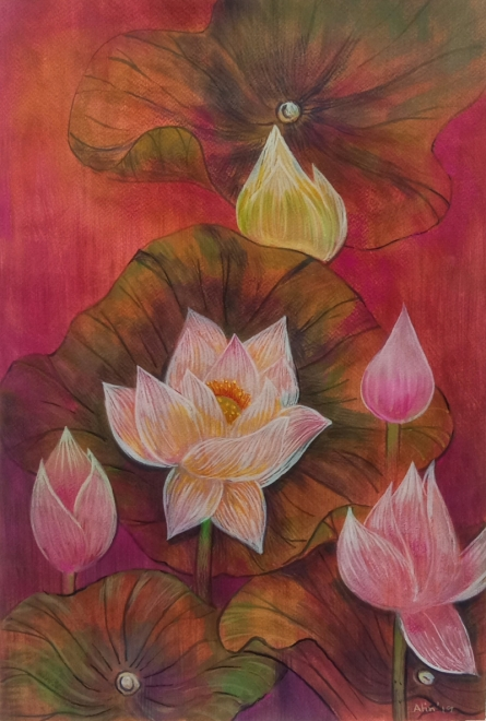 Nature Mixed-media Art Painting title 'Melody Of Lotus 6' by artist Atin Mitra