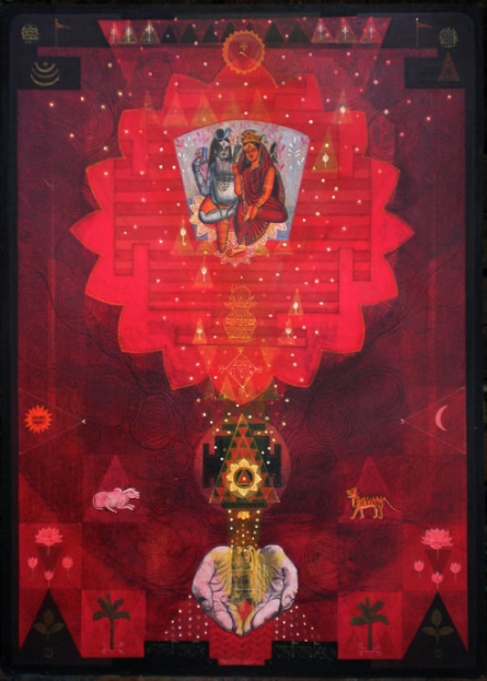 Religious Tempera Art Painting title 'Pranam' by artist Atin Mitra