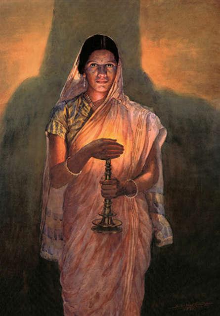 Figurative Oil Art Painting title Lady With Lamp (Glow Of Hope) by artist Sawlaram Haldankar
