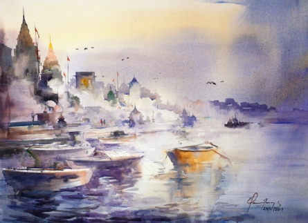 Cityscape Watercolor Art Painting title 'Banaras Ghat' by artist Mohd Qaseem Farooqui