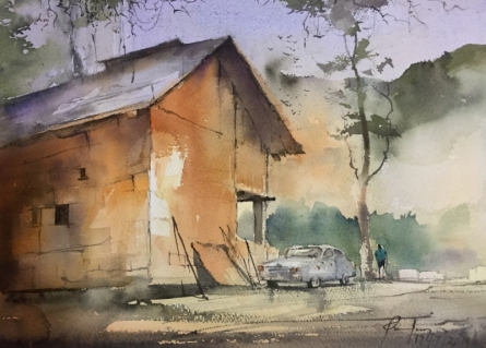 Mohd Qaseem Farooqui Paintings | Watercolor Painting title Cottage At Chamba by artist Mohd Qaseem Farooqui | ArtZolo.com