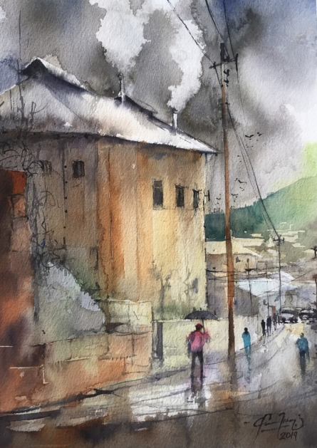 Cityscape Watercolor Art Painting title Smoke From Cottage by artist Mohd Qaseem Farooqui
