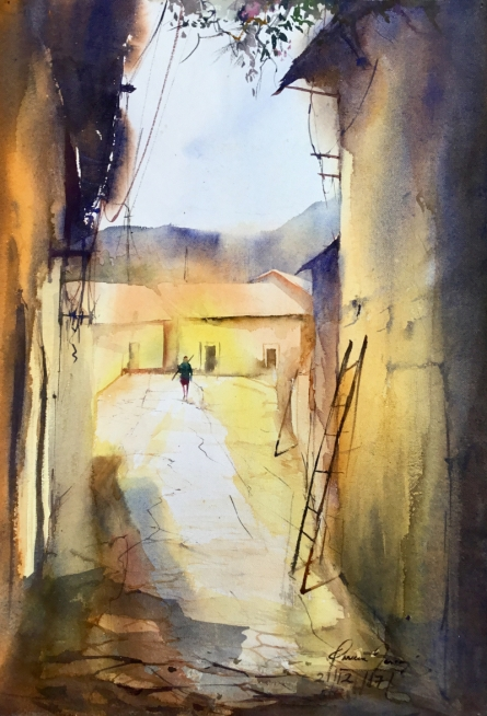 Cityscape Watercolor Art Painting title 'Sunny Outside' by artist Mohd Qaseem Farooqui