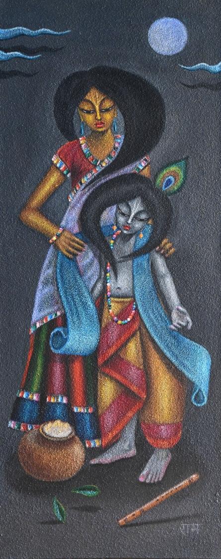 Prem Krishna Das | Acrylic Painting title Yashoda Nandana on Wood dust on canvas | Artist Prem Krishna Das Gallery | ArtZolo.com