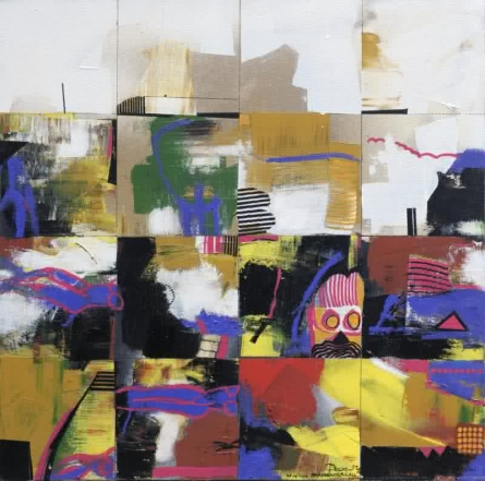 Abstract Acrylic Art Painting title 'City Nights I' by artist Prabhinder Lall
