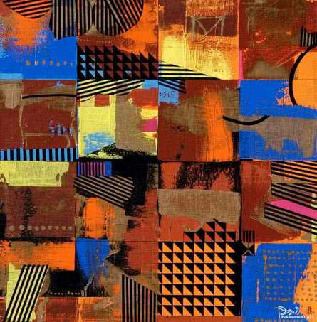 Prabhinder Lall Paintings | Abstract Painting - Urban Scape I by artist Prabhinder Lall | ArtZolo.com
