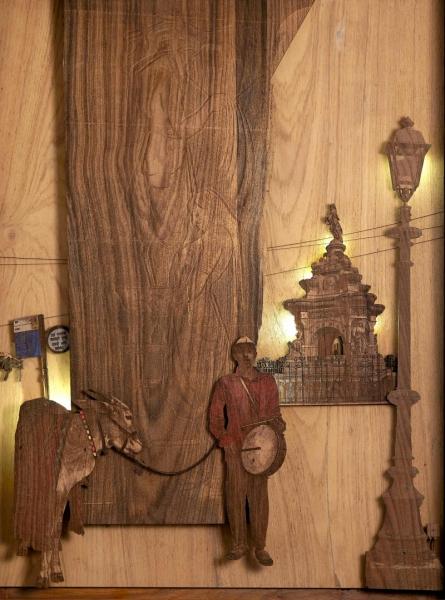 Shriram Mandale | Fountain Of Music Sculpture by artist Shriram Mandale on Teak Wood | ArtZolo.com