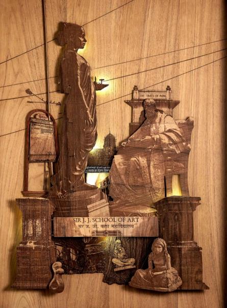 Teak Wood Sculpture titled 'Love Affair With Color' by artist Shriram Mandale