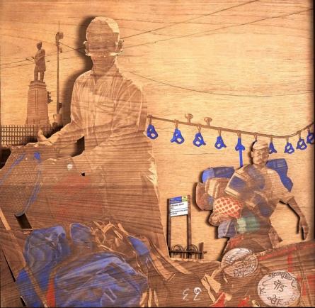 Teak Wood Sculpture titled 'Lunch Is Served' by artist Shriram Mandale
