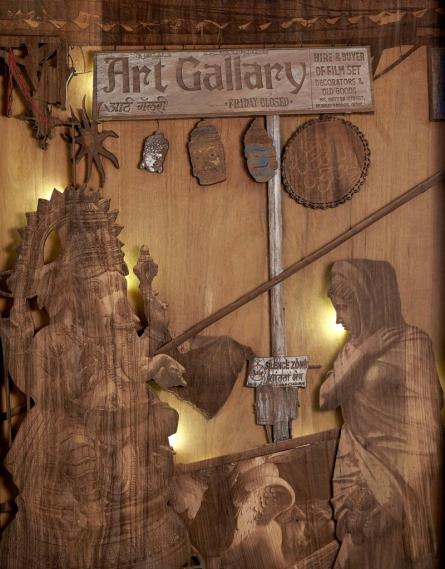 Shriram Mandale | Quiet Chaos Sculpture by artist Shriram Mandale on Teak Wood | ArtZolo.com