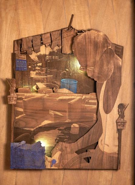 Shriram Mandale | Spotless Through Time Sculpture by artist Shriram Mandale on Teak Wood | ArtZolo.com