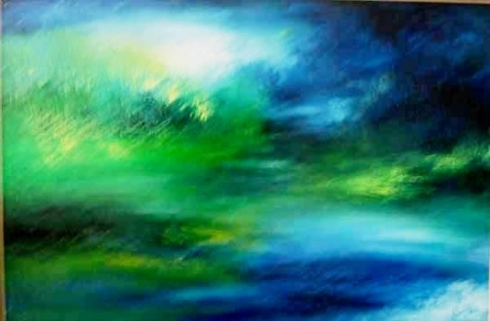 Abstract Acrylic Art Painting title 'MISTY BLUE' by artist Shuchi Khanna