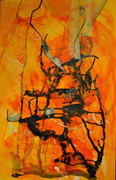 Abstract Mixed-media Art Painting title 'Dreams' by artist Shuchi Khanna