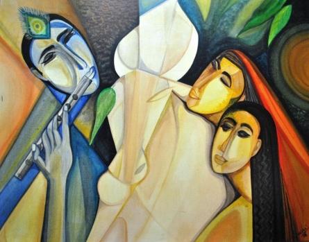 Figurative Acrylic Art Painting title 'Krishna with Gopis' by artist Shuchi Khanna