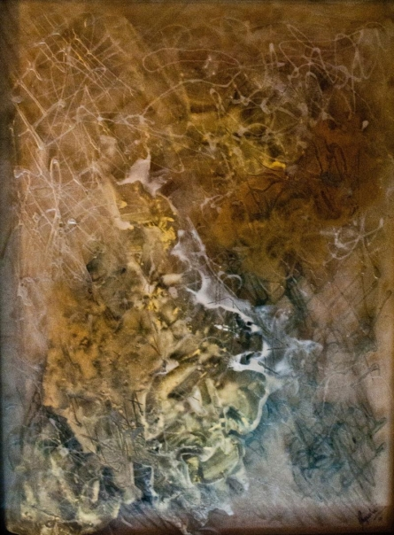 Abstract Mixed-media Art Painting title 'Copper' by artist Shuchi Khanna