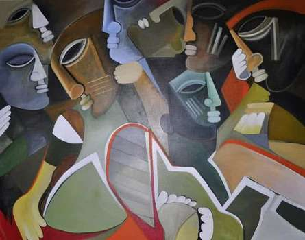 Figurative Acrylic Art Painting title 'Multiples Faces VI' by artist Kapil Kumar