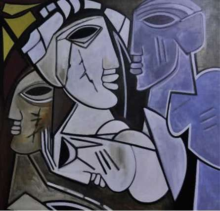 Figurative Acrylic Art Painting title 'Multiples Faces III' by artist Kapil Kumar