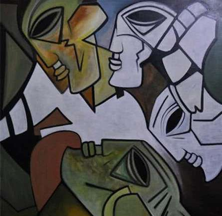 Figurative Acrylic Art Painting title 'Multiples Faces II' by artist Kapil Kumar