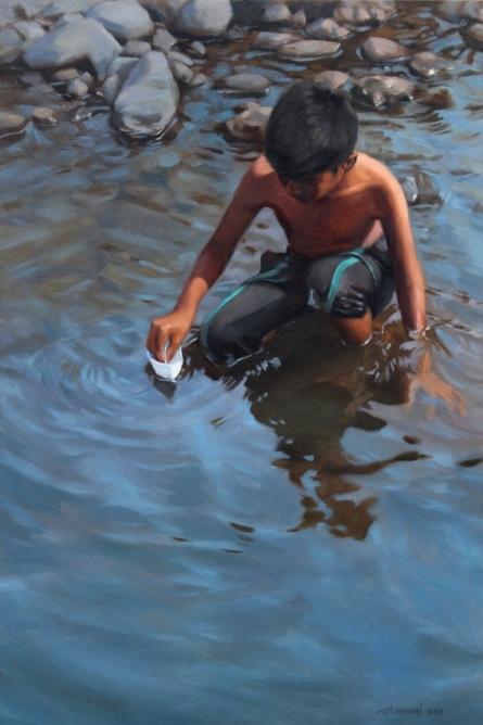 Figurative Oil Art Painting title Paper Boat by artist Manoj Deshmukh