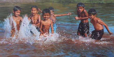 Figurative Oil Art Painting title 'Energy Overload' by artist Manoj Deshmukh