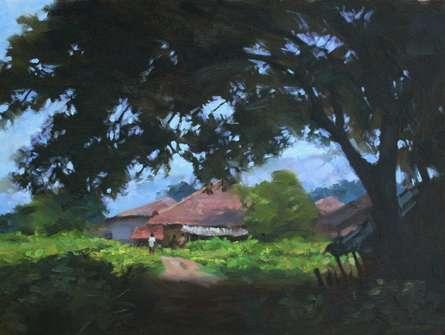 Landscape Oil Art Painting title 'Garden' by artist Manoj Deshmukh