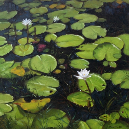 Nature Oil Art Painting title Lotus Pond by artist Manoj Deshmukh