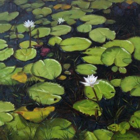 Nature Oil Art Painting title 'Lotus Pond' by artist Manoj Deshmukh