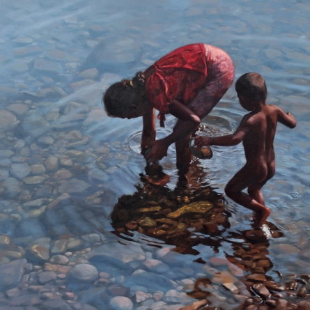 Figurative Oil Art Painting title 'Play Ground' by artist Manoj Deshmukh