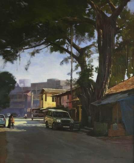 Cityscape Acrylic Art Painting title 'Sublime Tree' by artist Manoj Deshmukh