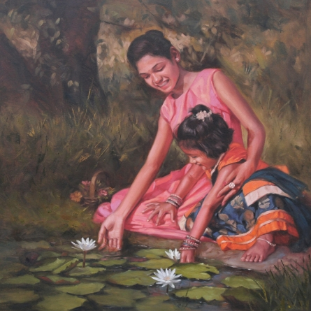 Figurative Oil Art Painting title 'Two Sisters' by artist Manoj Deshmukh